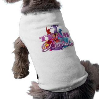 Purple dancing team bride bridesmaids bridal party dog t-shirt