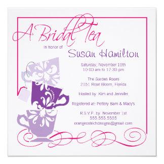 Purple & Dark Pink Bridal Shower Invitation - Tea