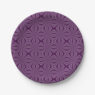 Purple Darkest Squiggly Squares Paper Plate