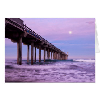 Purple dawn over pier, California Card