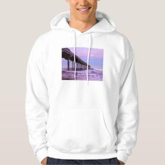 Purple dawn over pier, California Hoodie