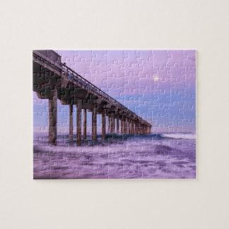 Purple dawn over pier, California Jigsaw Puzzle