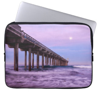 Purple dawn over pier, California Laptop Computer Sleeves