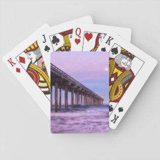 Purple dawn over pier, California Poker Deck