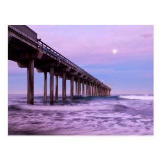 Purple dawn over pier, California Postcard