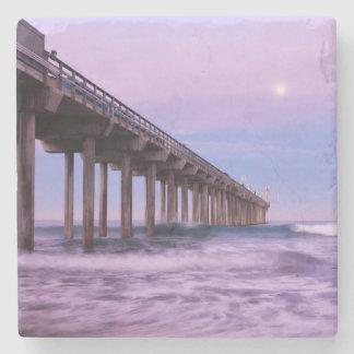 Purple dawn over pier, California Stone Coaster