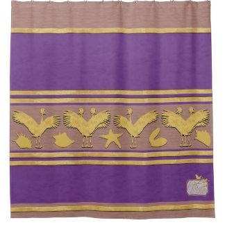 Purple Decorative Gold Shells Crane Shower Curtain