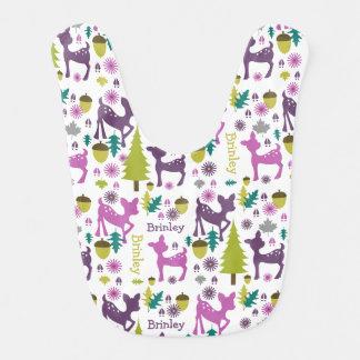 Purple Deer Personalized Baby Bib
