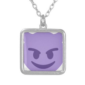 Purple Devil Emoji Silver Plated Necklace