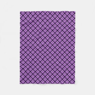 Purple Diagonal Plaid Fleece Blanket