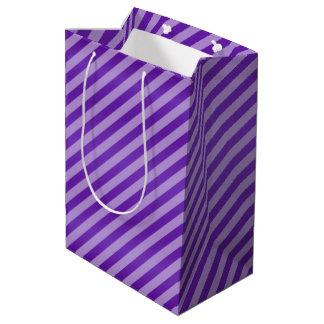 Purple Diagonal Stripe Pattern Medium Gift Bag