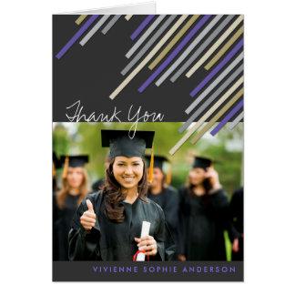 Purple Diagonal Stripes Graduation Thank You Card