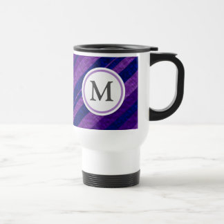 Purple Diagonal Stripes Travel Mug