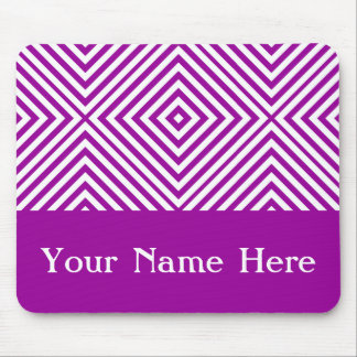 Purple Diamond Chevron with custom name Mouse Pad