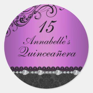 Purple Diamond & Damask Quinceanera Sticker