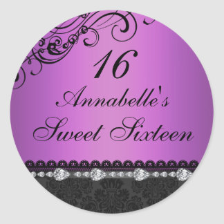 Purple Diamond & Damask Sweet16 Sticker