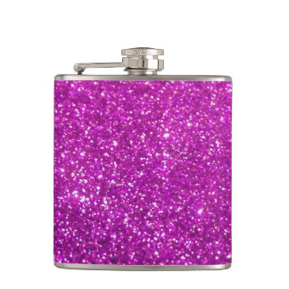 Purple Diamond Glitter Hip Flask