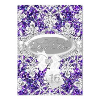 Purple Diamond Glitter Princess Sweet 16 Invite