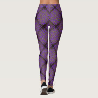 Purple Diamond Modern Mosaic Pattern Leggings