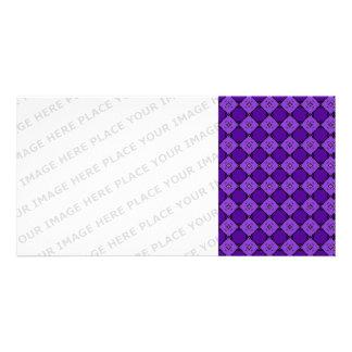 Purple Diamond Pattern Photo Greeting Card