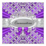"""Purple Diamond & Tiara Quinceañera Invitation 5.25"""" Square Invitation Card"""