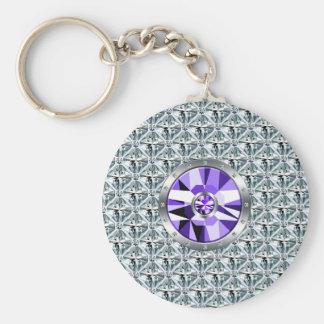 Purple Diamonds Pattern And White Gold Key Ring