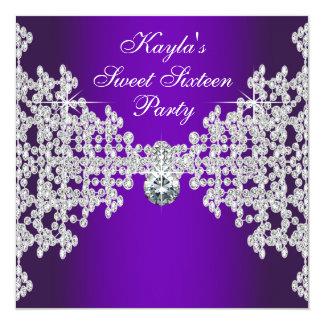 Purple Diamonds Purple Sweet Sixteen Birthday Personalized Invitation