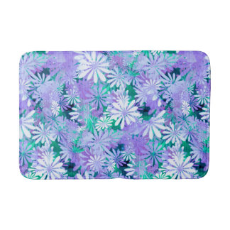 Purple Digital Daisies Bath Mats