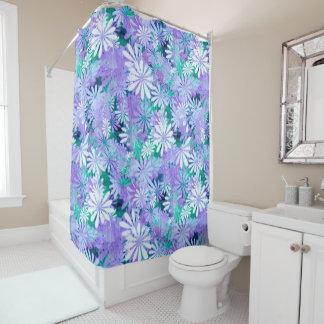 Purple Digital Daisies Shower Curtain