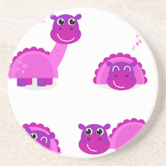 PURPLE DINO Cartoon Character Art Beverage Coaster