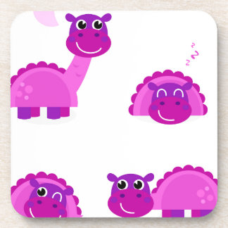 PURPLE DINO Cartoon Character Art Beverage Coasters