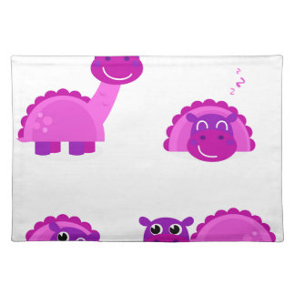 PURPLE DINO Cartoon Character Art Placemat