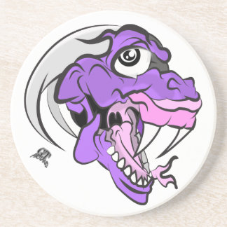 Purple Dino Head Sandstone Coaster