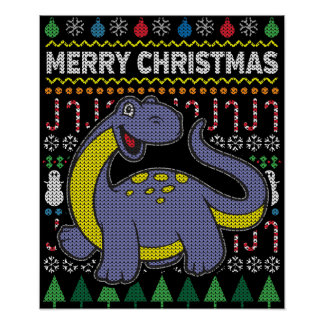 Purple Dino Ugly Christmas Sweater Wildlife Series Poster
