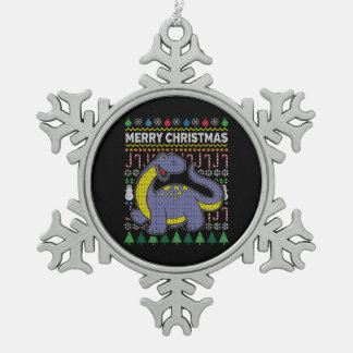 Purple Dino Ugly Christmas Sweater Wildlife Series Snowflake Pewter Christmas Ornament