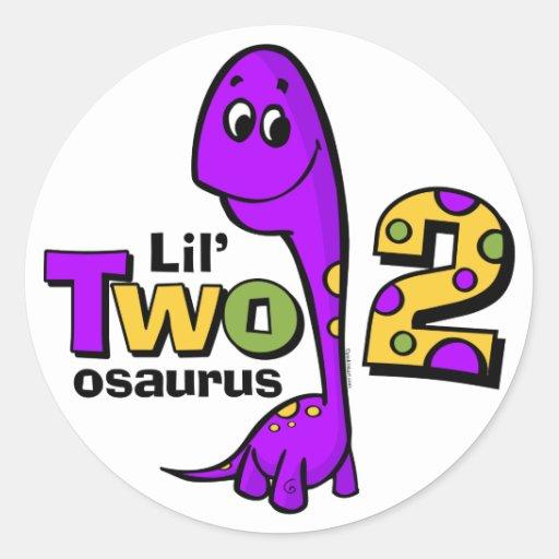 Purple Dinosaur 2nd Birthday Round Stickers