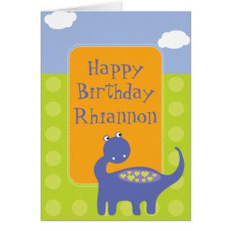 Purple Dinosaur Birthday with Dots Card
