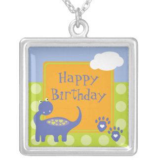 Purple Dinosaur Birthday with Dots Custom Jewelry