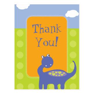 Purple Dinosaur Birthday with Dots Thank You Postcard