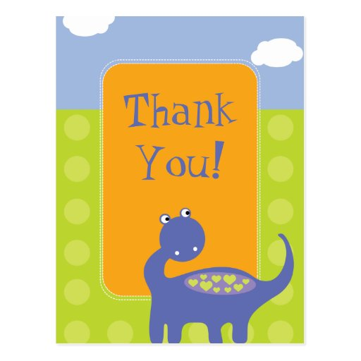 Purple Dinosaur Birthday with Dots Thank You Post Card