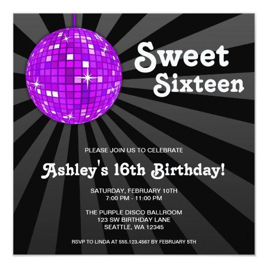 Purple Disco Ball Sweet 16 Birthday Party Card