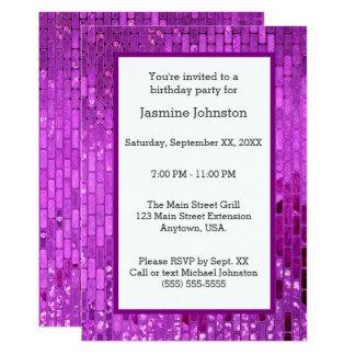 Purple Disco Ball Tiles Party Card