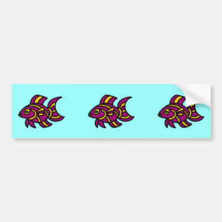 Purple Ditzyfish with Yellow Stripes Bumper Sticker