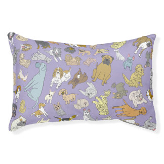 Purple Dog Bed with Different Dogs