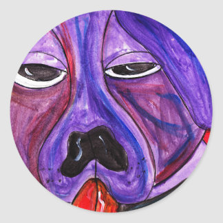 Purple Dog Classic Round Sticker