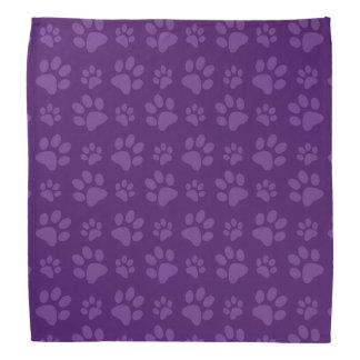 Purple dog paw print pattern bandana