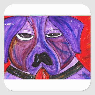Purple Dog Square Sticker