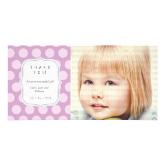Purple Dots - Any Occasion Thank you Customised Photo Card