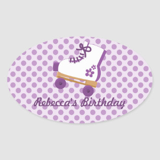 Purple Dots Roller Skate Birthday Oval Stickers