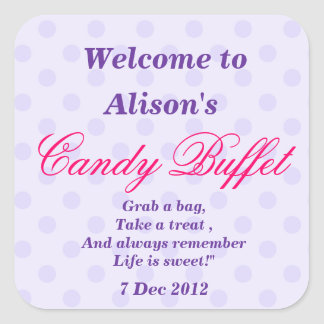 Purple Dotty Candy Buffet Party Sticker